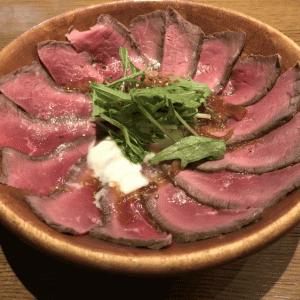 自由が丘「ザ・バンフ」ランチの国産牛ローストビーフ丼が豪快!で美味い!