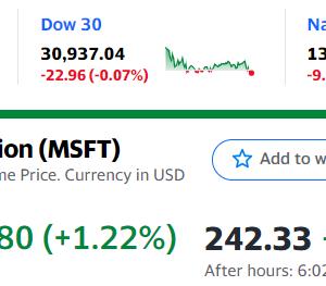 MSFT好決算で時間外で急騰 QQQも上昇