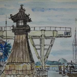 岡山倉敷・旧野﨑浜灯明台のある風景