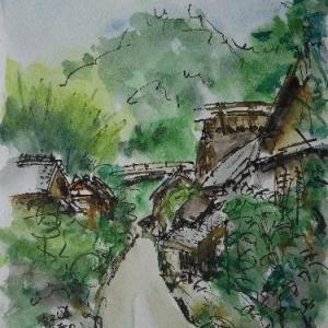 京都・化野念仏寺の階段より