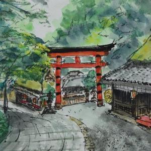 京都・一の鳥居を振り返ると