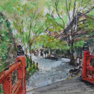 京都・三千院の門前の通り