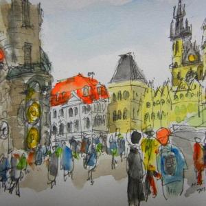 プラハ・広場にある旧市庁舎の天文時計