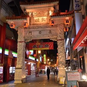 夜の神戸元町中華街。