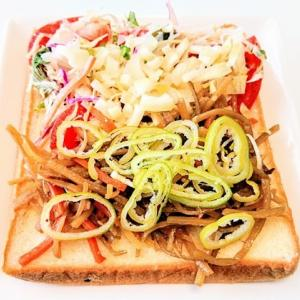 BALMUDA The Toaster でトーストした 色色サラダ と きんぴらごぼう長ネギon の 和トースト♪