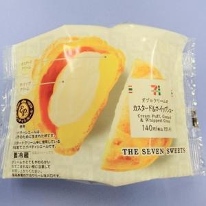 セブンイレブン スイーツ 『 ダブルクリームのカスタード&ホイップシュー 』 エグパティシエール使用のシュークリーム。