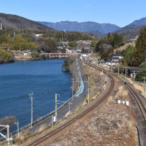 落合ダムとJR中央本線