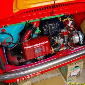 R-2君、キャブレータソーサードレンホース取り付け、オイルポンプワイヤー調整