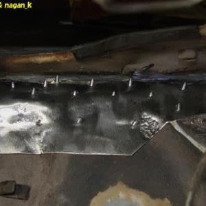 R-2君、トランク床鉄板と室内床接続部を覆うパッチ鉄板作成3日目