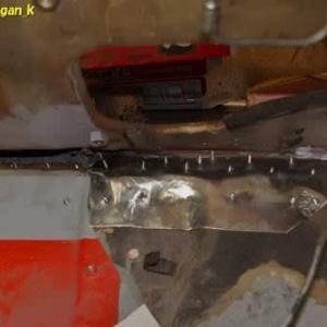 R-2君、トランク床鉄板と室内床接続部を覆うパッチ鉄板作成4日目