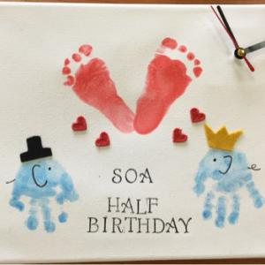 幕張 TSUTAYA 赤ちゃんと作るバレンタインプレゼントづくり 世界に一つのアート時計