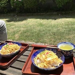 お庭で食べてみました~ばら寿司