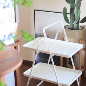 IKEAの真っ白折り畳みテーブル(2段)が超便利! ダイソーグッズでコンパクトに楽々収納ヾ(*´∀`*)ノ
