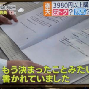 楽天、3980円送料無料問題、今日テレビでやってましたね