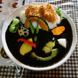 『小林カレー』イカ墨カレーに野菜、ヒレカツトッピングで堪能!