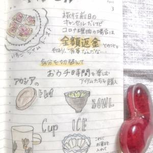 大人の絵日記、4/3 金曜日。国内旅行キャンセル