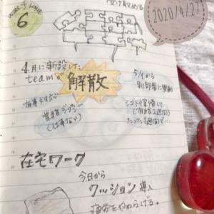 大人の絵日記、4/27。コロナ影響で組織変更