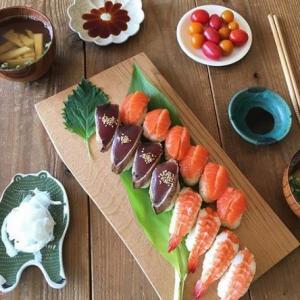 今日のお昼は、手づくり握り寿司