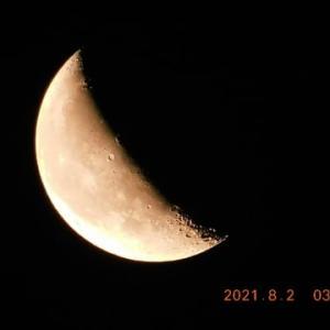 未明と朝に2度見た月
