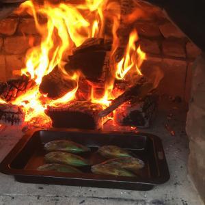 手作りピザ窯で初ピザ。