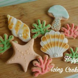 海辺の生物のアイシングクッキー