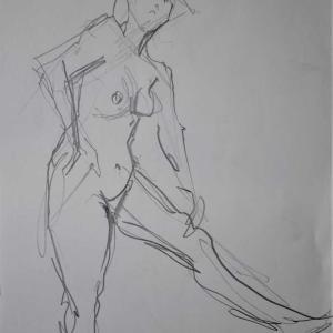 ヌードクロッキー、角度を変えて、#美術モデル募集