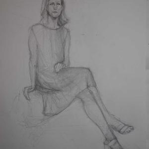 鉛筆でのデッサン風にスケッチ、美術モデル募集中