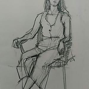 着衣のエスキース、美術モデル募集