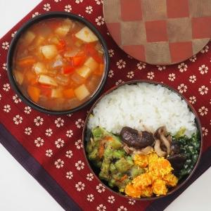 インド惣菜とミネストローネ、という鬼畜な組み合わせ弁当。