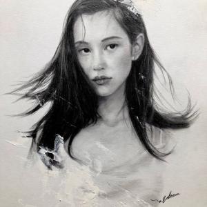 水原希子ちゃんと深田恭子ちゃんを鉛筆画で描いてみた