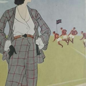 今日は体育の日 &  絵葉書・・・ラグビーを観る女性