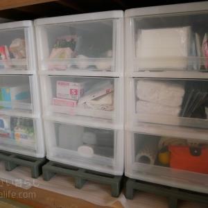 【断捨離】ゴチャついていた押入れの消耗品ストック収納ケースを整理整頓