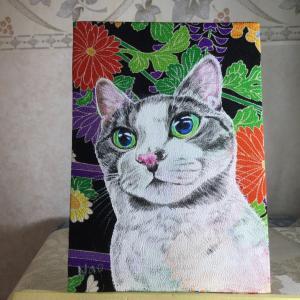 絹に描く猫似顔絵イメージアート39番 ロビンくん