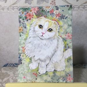 絹に描く猫似顔絵イメージアート40番 ライトくん