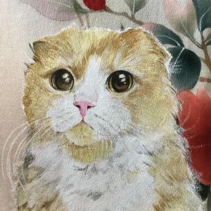 絹に描く猫似顔絵イメージアート41番 アランくん