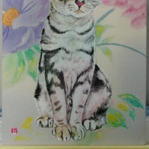 絹に描く猫似顔絵イメージアート42番 エイトくん 猫似顔絵ご依頼の皆様へ!