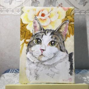絹に描く猫似顔絵イメージアート43番 リッチくん