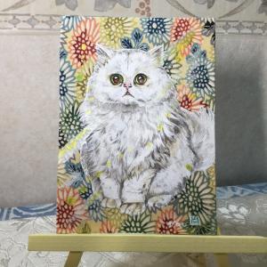 絹に描く猫似顔絵イメージアート45番 おもちちゃん