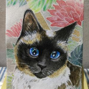 絹に描く猫似顔絵イメージアート 46番 ももこちゃん