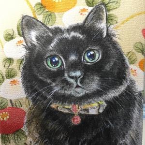 絹に描く猫似顔絵イメージアート47番 ジジちゃん
