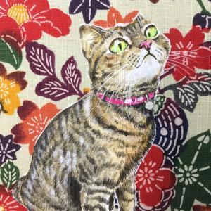 絹に描く猫似顔絵イメージアート48番 Uちゃん