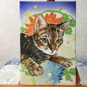 絹に描く猫似顔絵イメージアート 49番 琥太郎くん