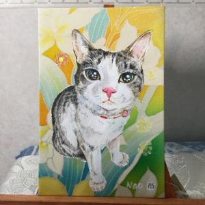 絹に描く猫似顔絵イメージアート 54番 メルちゃん