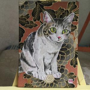絹に描く猫似顔絵イメージアート 61番 ひまりちゃん