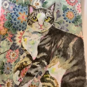 絹に描く猫似顔絵65 とらくん
