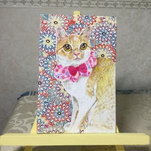 絹に描く猫似顔絵イメージアート 24番  みるたん