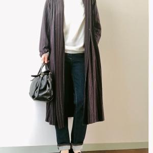 今は好きなノーカラー。頼れるストライプ柄コートで秋コーデ