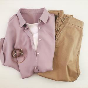 GU990円シャツが最強に着まわせる!プロも絶賛「くすみパープル」で高見え4style