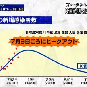 【2020/07/07】K値予測では新規感染者数は今週がピーク!?