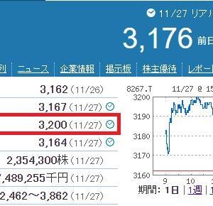 【2020/11/28】イオン株最高値さらに更新!